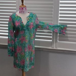 LILLY PULITZER RESORT DRESS COVER UP PINK GREEN